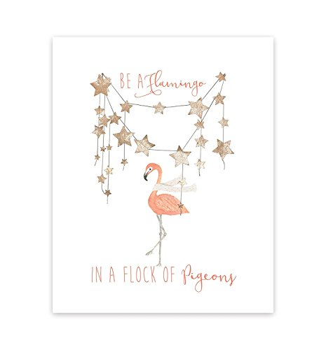 Be a FLAMINGO in a Flock of Tauben, Grafik Print, BE A Flamingo Wand Zitat Inspirierende Wand Home Decor Kunst Aufkleber mittel, fuchsia pink 08x10