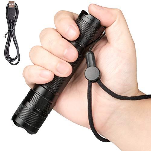 Linterna LED, Linterna Táctica Impermeable USB Luz recargable de mano Linternas súper brillantes para acampar/ir de excursión/caminar