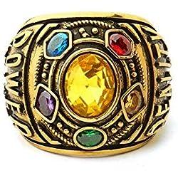 Diadia - Anillos de Thanos Infinity con piedra de súper de guerra y anillo dorado para disfraz de disfraz de disfraz US 12 amarillo