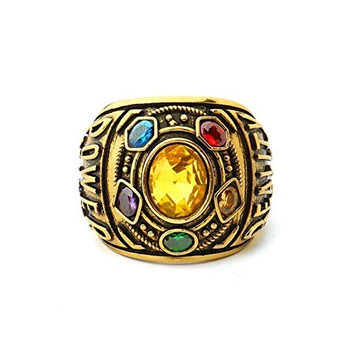 MeiMei Marvel Avengers Infinity Wars Power Ring Männer Frauen Modeschmuck Armband Brief Thanos Gauntlet Gold (C)