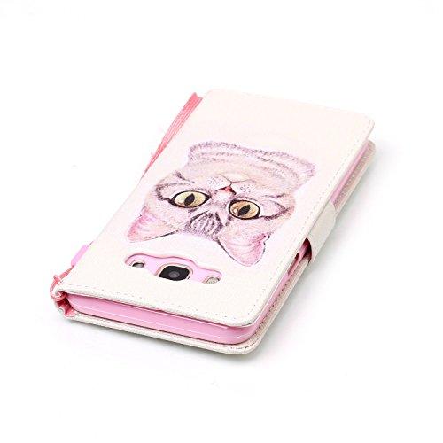 """PU Coque Galaxy J5 (2016) J510FN 5.2"""", Multifonction Case Wallet Cover Etui en cuir Étui de protection flip Wallet stand Cover avec des fentes de cartes pour Samsung Galaxy J5 (2016) J510FN 5.2"""" +Bouchons de poussière (5OO)"""
