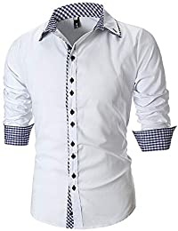 ALIKEEY Los Hombres De Otoño De La Personalidad Casual Slim Long Sleeve Plaid Shirt Top Blouse