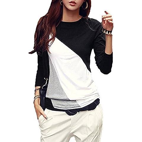 TOOGOO (R) Mujeres camiseta Cuello redondo de manga larga Basa la Blusa Casual Tops Negro L