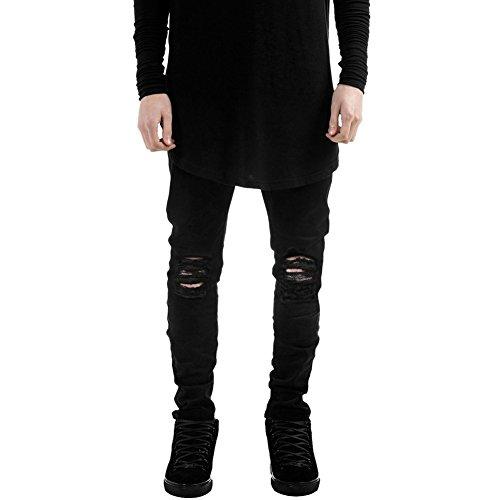 LAEMILIA Männer Slim Fit Schwarz Stretch Destroyed Jeanshose Denim Jeans Hose (EU S, Schwarz)