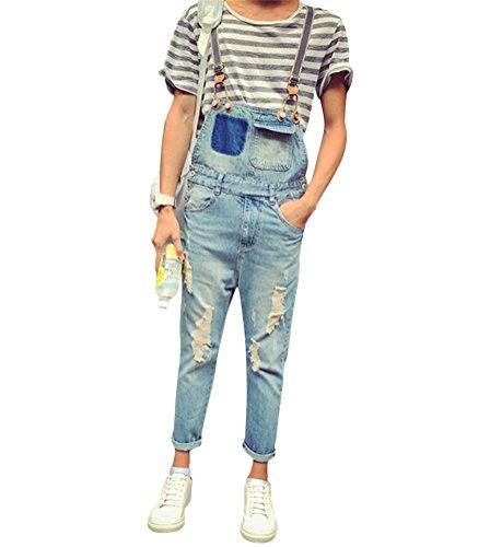 Brinny Sommer Vintage Jeans Latzhose Jungen Loch Ripped Destroyed Washed Jumpsuit Overalls Denim Lange Hose, Hellblau - 3XL