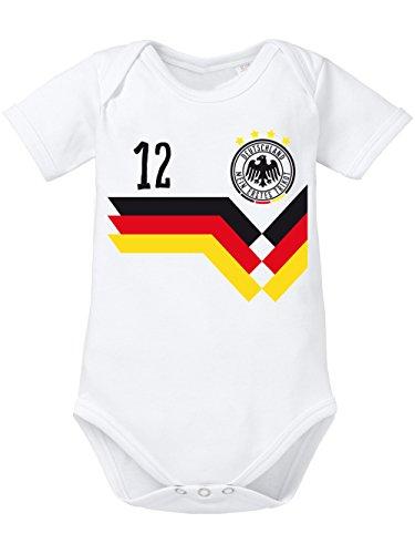 clothinx Baby Body Unisex Fußball Deutschlandfan Weiß Größe 86-92