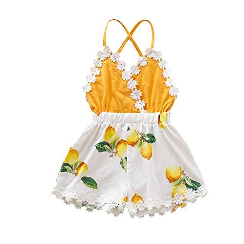 Overall Baby Sommer Infant Sleeveless Lace Ruffles Lemon Print Backless Romper Jumpsuit -