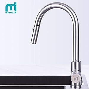 Grifo de Cocina, MEHOOM Grifo con Ducha Extraible 2 Modos de Flujo de Agua Giratorio de 360° para el Fregadero de Cocina…