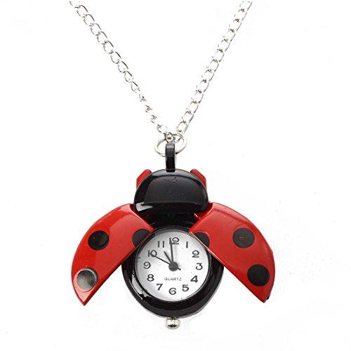 Uhr - SODIAL(R) Rote Marienkaefer Halsketten haengende Uhr Uhr HEISS