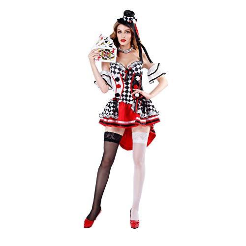 FGDJTYYJ Halloween Cosplay Lady Smoking, Poker Girl Queen Maskerade Kleid Zirkus Clown Kostüm (Hut + Kragen + Ärmel + Kleid),M (Gruseliges Kostüm Nachthemd)