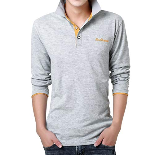 Yvelands Herren T-Shirt,Mode Brief Druck Shirt Langarm Casual T-Shirt Bluse Polo Business T-Shirt Tops(O,XXL)