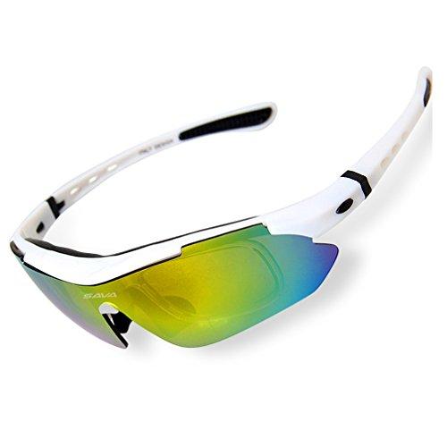 SAVA Gafas de Sol Deportivas Polarizadas TR90 Manera Reflexiva de Deportes al Aire Libre para Bicicleta Actividades con 5 Lentes de Ciclismo Gafas Sol Ciclismo Deporte(Blanco)