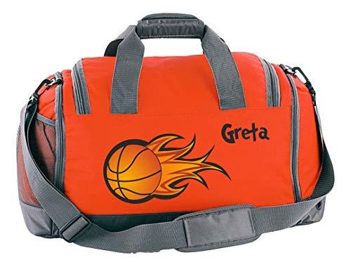 Mein Zwergenland Multi-Sporttasche in Orange mit Schuh- und Feuchtfach mit Name, 41 L, Basketball 56 -