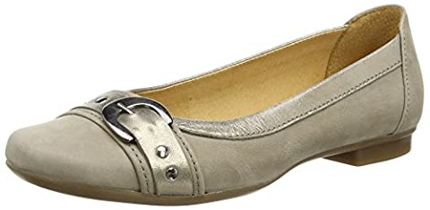 Gabor Indiana, Ballerines femme - BEIGE (BEIGE NUBUCK/GOLD MET LEATHER TRIM), 36 EU