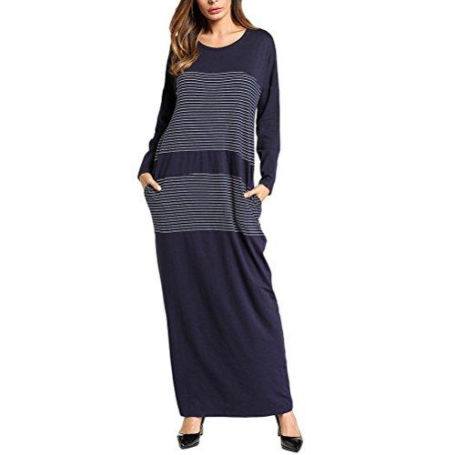 Zhhlaixing Lässig Maxi Langes Kleid Rundhals Türkisch Abaya Islamische Kleidung Gestreift Nähen Kleider für Frauen Damen