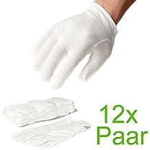 Incutex 12 pares de guantes de tela de algodón, blancos, talla: L