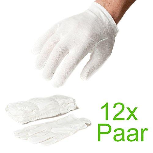 Incutex 12 Paar Baumwollhandschuhe Handschuhe Baumwolle Trikot Handschuhe cotton gloves feuchtigkeitsspendende Handschuhe, Größe L, weiß (Baumwoll-handschuh)