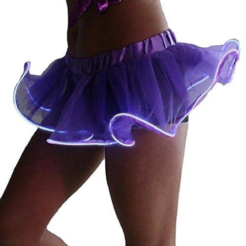 LED Kleid Damen Midikleid Party Rock Spielen Frauen Led Licht Kleid Tutu Rock (XL, Violett)