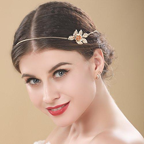 aukmla Hochzeit Strassbesatz Fashion Golden Blume und Leaf Stirnbänder Chic Kopf Kette für (Dress Fancy Und 20s Accessoires Kostüme)