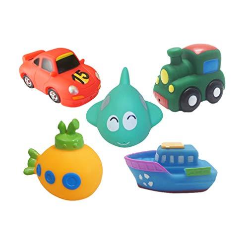 Toyvian 5 Stücke Baby Badespielzeug Bad Spritzen Spielzeug Auto Bad Schwimmen Spielzeug Schwimmbahn für Wanne Kunststoff Dusche Spielzeug für Jungen Kinder Kleinkind