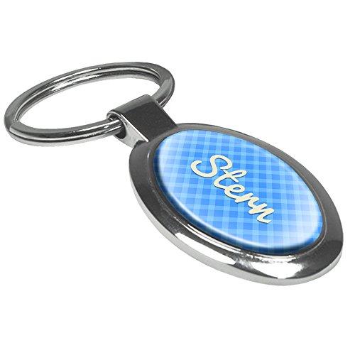 Schlüsselanhänger mit Namen Stern - Motiv Karomuster - Namensschlüsselanhänger, personalisierter Anhänger, Talisman, Anhänger, Chrom