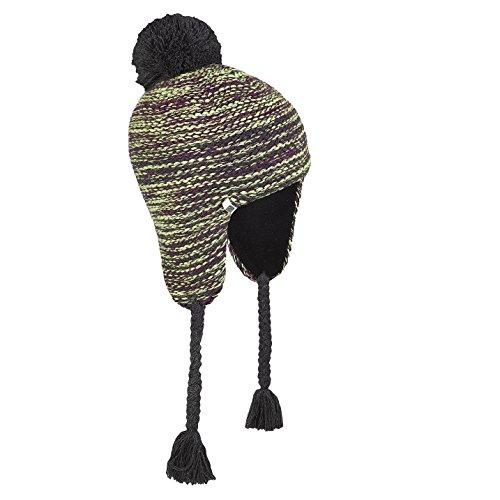 Brekka Mütze mit Ohrenwärmern Ermes Peru anthrazit/gelb/lila one size