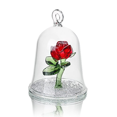 H & d cristallo enchanted rose fiore della collezione sogni in una cupola di vetro regali per lei (rosso)