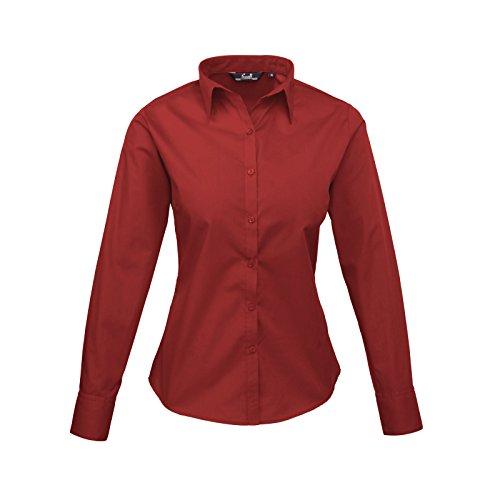 Premier Women's Formal Poplin Long Sleeve Shirt Bordeaux