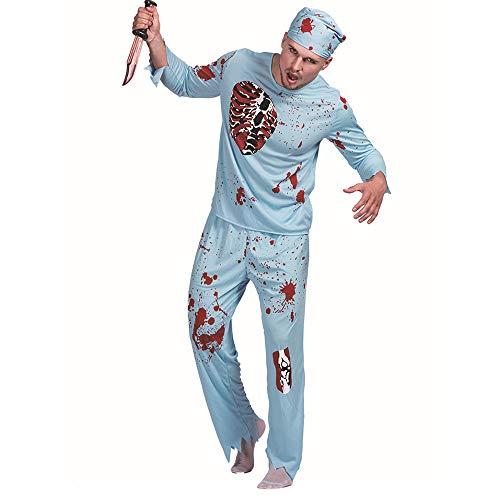 laamei Herren Halloween Kostüm Zombie Arzt Horror Cosplay Kapuze Hörner