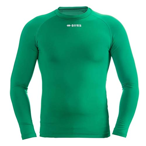 ERMES Funktionsshirt mit geringer Kompression (langarm) ideal zum Training beim Fußball, Running, Football, Rugby, Hockey u.v.m. · UNISEX Damen & Herren Unterziehshirt (Kompressionsshirt) aus Polyester-Stoff für Individual- & Teamsport von Erreà (grün, S/M)