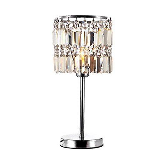 Rechteck-lampe Perlen (OOFWY Minimalistische Neuheit Romantische Metall Tischlampe Mit Rechteck Perle Echte Kristall Schatten Für Schlafzimmer Nachttisch Schreibtisch Lampe)