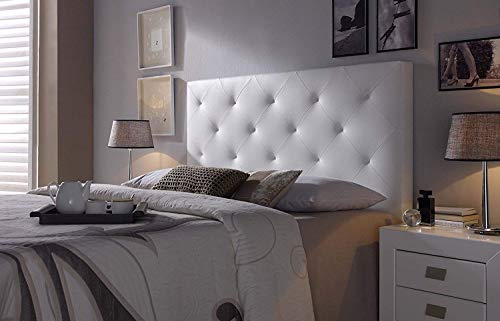 Cabezal tapizado Rombo 160X115 Blanco, Acolchado con Espuma, 8 cm de Grosor, Incluye herrajes para Colgar