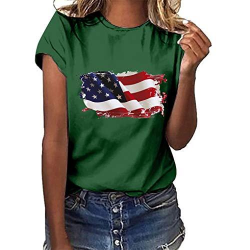 Oversize Shirt Oberteile für Damen,Dorical Frauen Sommer Rundhals T-Shirt Loose National Flagge Unabhängigkeit Tag Drucken Kurzarm Shirts Bluse Tops S-3XL Rabatt(Grün,Medium)