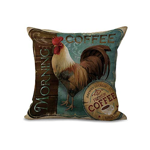 Cushion Covers Pads/Grey Retro Style Rooster Coffee Chicken Farm Fresh Polyester Cushion Cover for Sofa Home Shop Bar Club Car Decor MY-A1088-01,Cushion Size:16 x 16 inches Farm Fresh Rooster