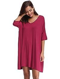 Aibrou Femmes Chemise de Nuit Fit Comfy Flatteur Chemise de Nuit à Manches  Courtes col en 2e5173c40b3
