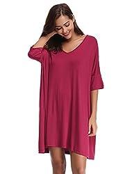 Aibrou Damen Nachthemd Nachtkleid Kurz Sommer Nachtwäsche Negligee Umstandskleid Stillnachthemd Sleepshirt aus Modal Weinrot M