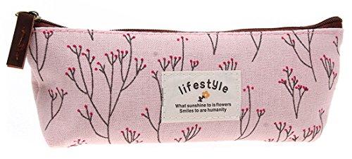 EJY Blume Bleistift Feder Tasche Kosmetik Make-up Tool Bag Aufbewahrungstasche Geldbeutel Beutel (Blau) Rosa