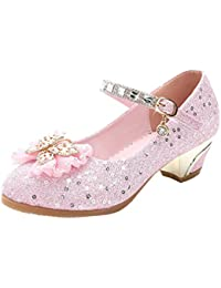 Niños chispeantes bombas formales Chicas Princesa brillo zapatos de tacón bajo