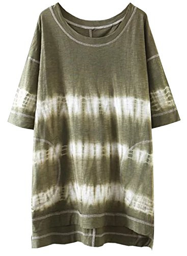 Azbro Women's Short Sleeve High Low Knitted Tee Shirt Army Green