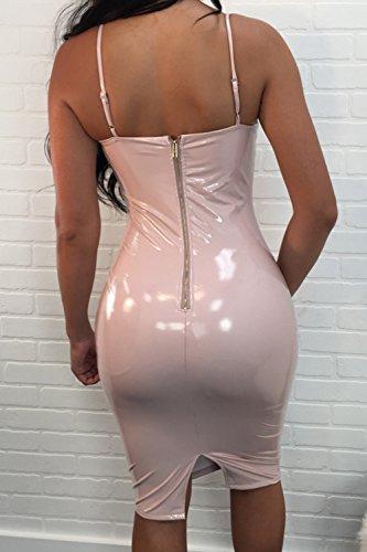 Donne Senza Maniche / Collo Cinghia Tratto Luminoso Bodycon Midi Nightclub Prendisole Pink