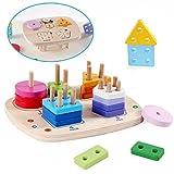 Vanplay Puzzle de Apilador Geométrico Juegos Educativos Montessori Building Blocks Juguetes para Niños