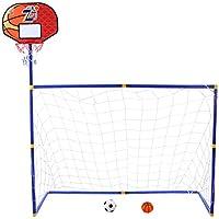 YAKOK - Juego de portería de fútbol Infantil (115,5 x 108 x 45,5 cm), diseño de portería de fútbol y Baloncesto, Color Brown, Blue, tamaño 158 * 158 * 45.5CM