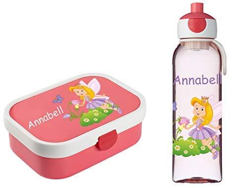 Mein Zwergenland Brotdose Mepal Campus inkl. Bento Box und Gabel + Campus Wasserflasche mit Namen Rose, Fee