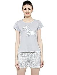 N-Gal Women's Cotton Short Sleeves Cute Zebra Print Sleepwear Nightwear Lounge Sets (Grey, Free Size)