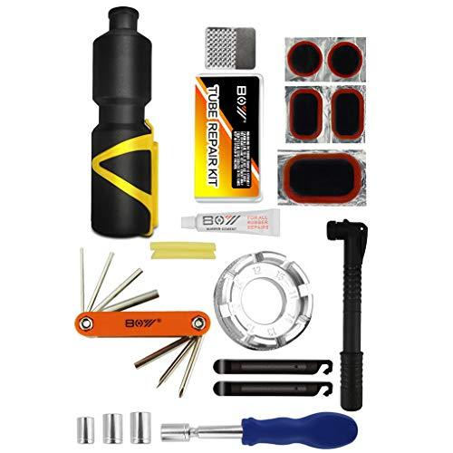 Rekkles Fahrrad-Reparatur-Werkzeug-Kit Fahrrad-Rad Speichenschlüssel Mini-Handpumpe Schlauch Patches Reifen Datei Lever Set