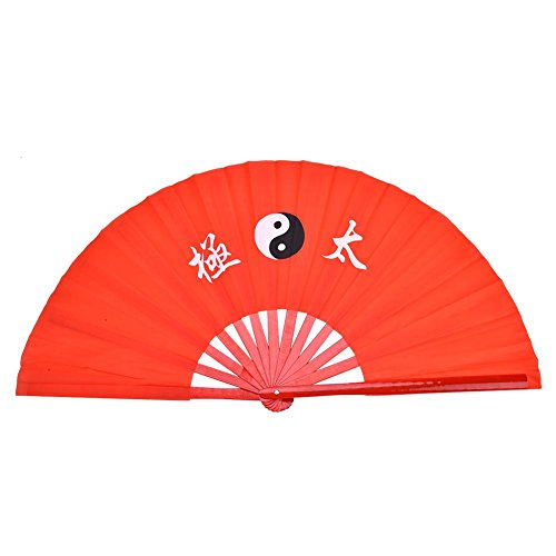 Faltbarer Handfächer, Bambus-Seidentanz-Übungsfächer für Trainingsleistung Tai Chi Martial Arts Kung Fu(Rote Rippe)