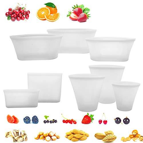 8 Pack bolsa de alimentos reutilizable de silicona