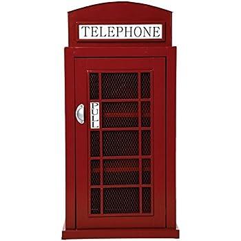 Meuble tag re grande cabine t l phonique style london coloris rouge cuisine - Meuble cabine telephonique anglaise ...