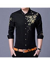 b00aaf6dd1d1 YAYLMKNA Camicia Camicie Eleganti da Uomo Camicia con Bottoni Stampati  Fantasia Uomo Maniche Lunghe Slim Fit