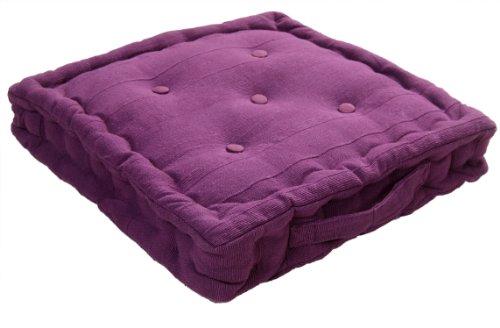 Homescapes Kissen Stuhlkissen Sitzkissen Rajput 40 x 40 cm in Ripp-Optik aus 100% reiner Baumwolle mit Polyesterfüllung in lila. - Sitzkissen Lila